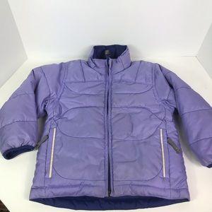 REI down puffer jacket reversible purple lavender